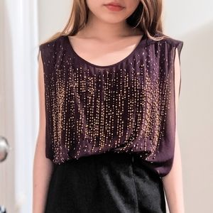 Cache Sequin Cut-out Tank Top